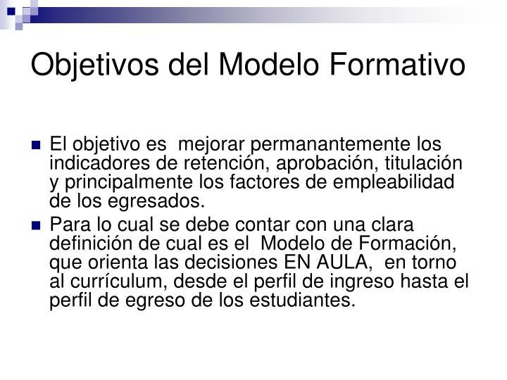 Objetivos del Modelo Formativo