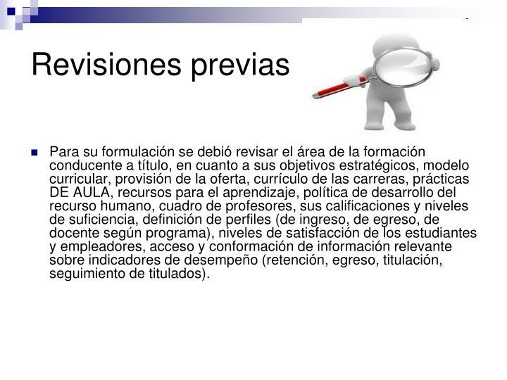 Revisiones previas