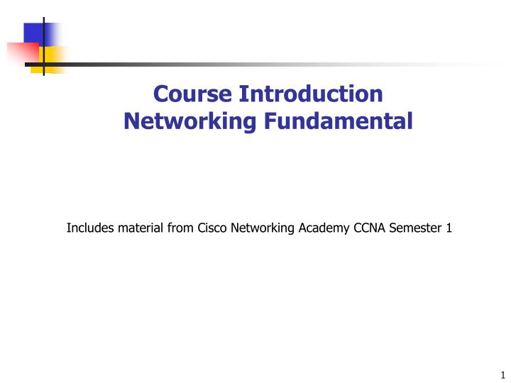 Course introduction networking fundamental