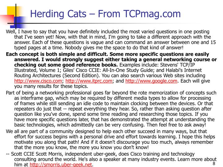 Herding Cats – From TCPmag.com