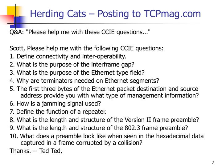 Herding Cats – Posting to TCPmag.com