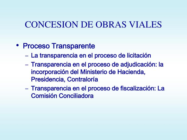 CONCESION DE OBRAS VIALES