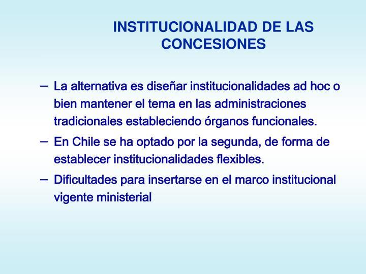 INSTITUCIONALIDAD DE LAS CONCESIONES