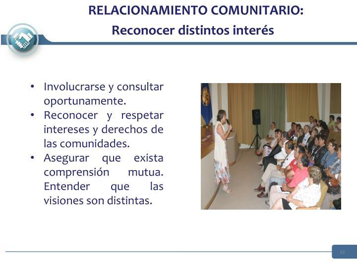 RELACIONAMIENTO COMUNITARIO: