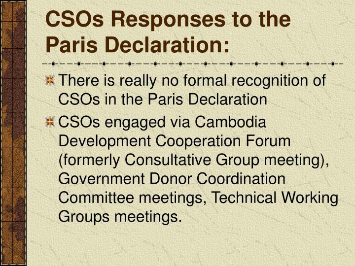 CSOs Responses to the Paris Declaration: