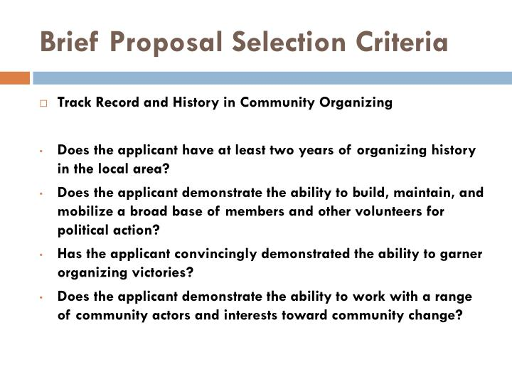 Brief Proposal Selection Criteria