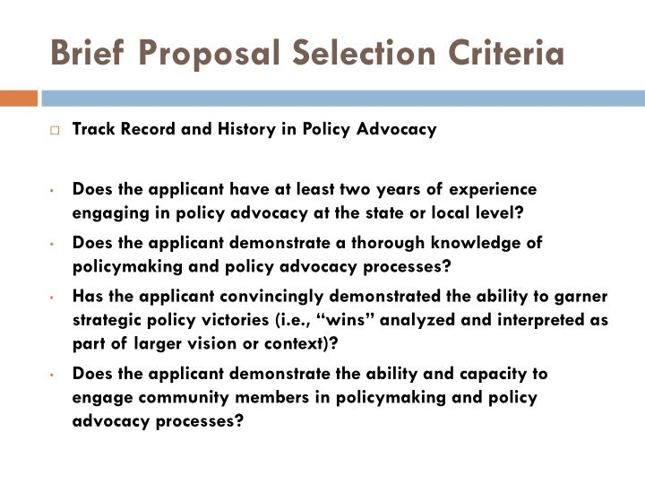 Brief Proposal Selection Criteria