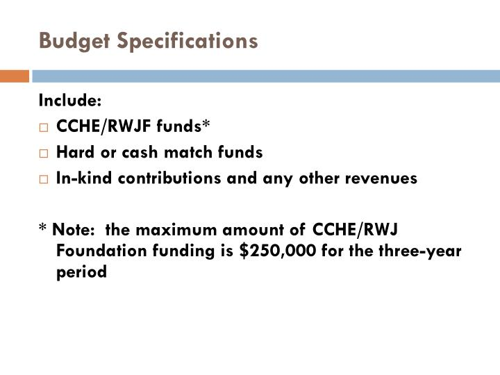 Budget Specifications