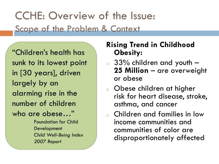 CCHE: Overview of the Issue: