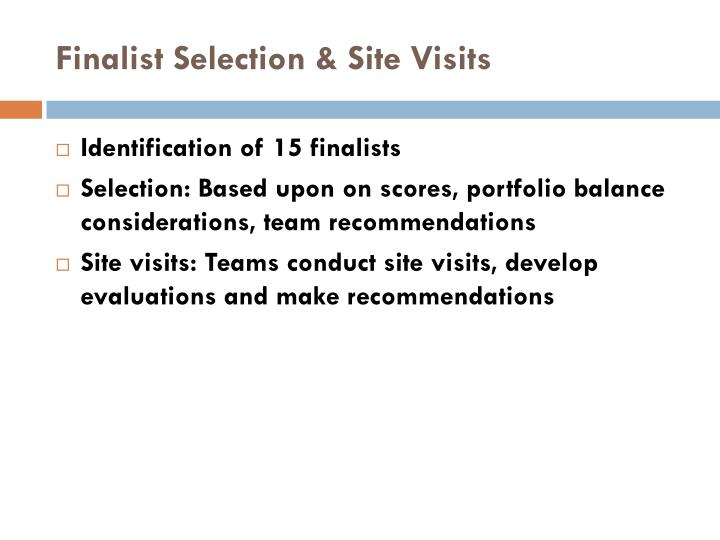 Finalist Selection & Site Visits