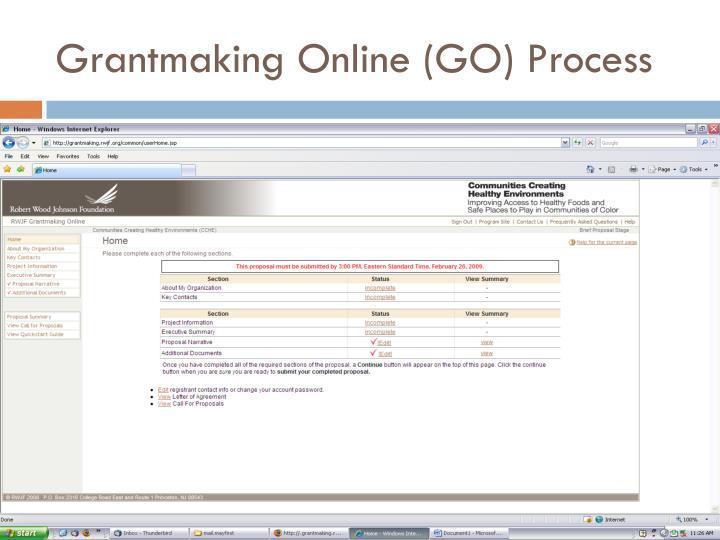 Grantmaking Online (GO) Process
