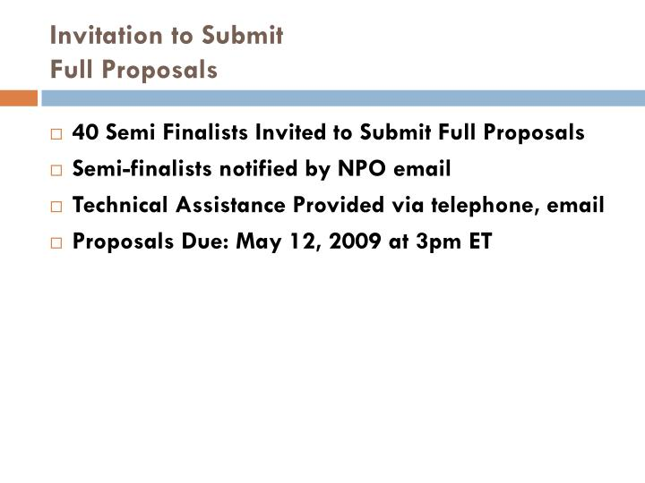 Invitation to Submit