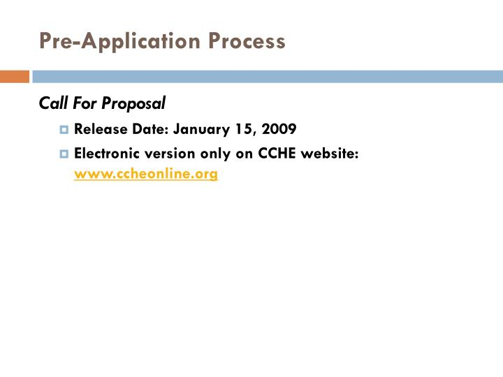Pre-Application Process