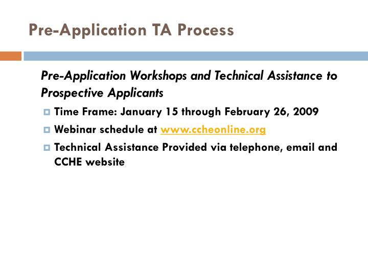 Pre-Application TA Process