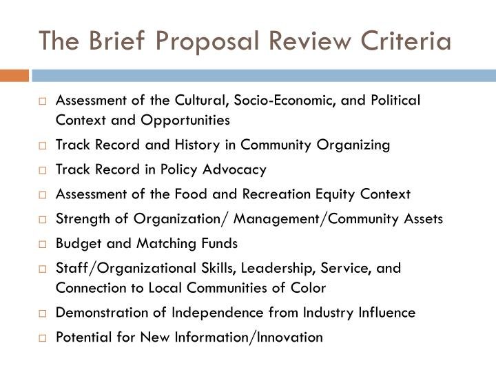 The Brief Proposal Review Criteria