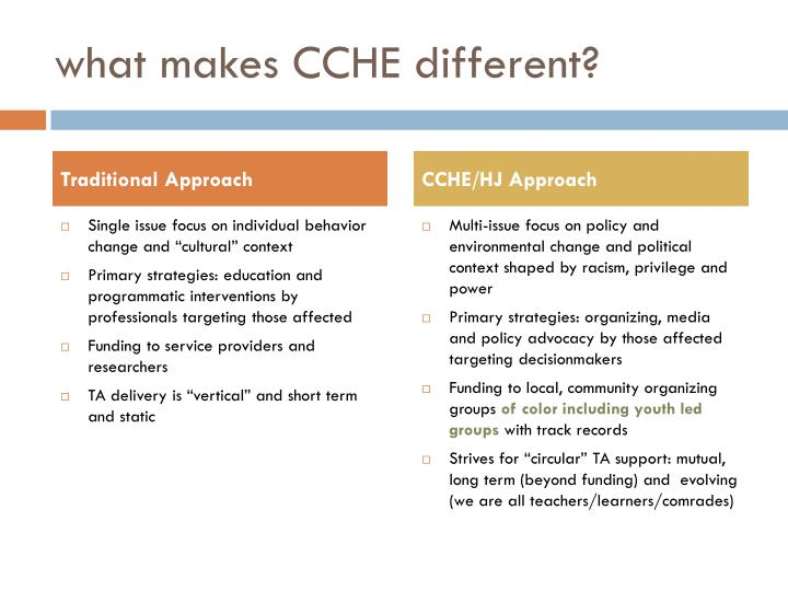 what makes CCHE different?