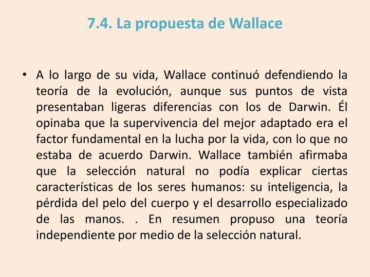 7.4. La propuesta de Wallace