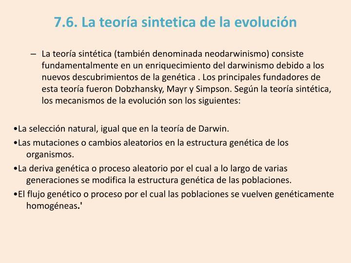 7.6. La teoría sintetica de la evolución