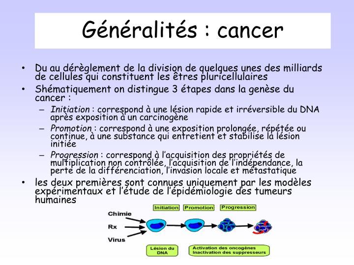 Généralités : cancer
