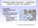 plusieurs modes d invasion classifying collective cancer cell invasion