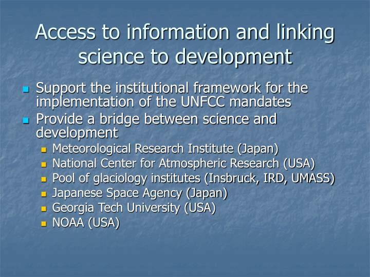 Access to information and linking science to development