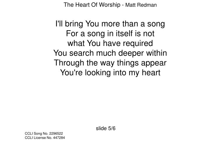 The Heart Of Worship -