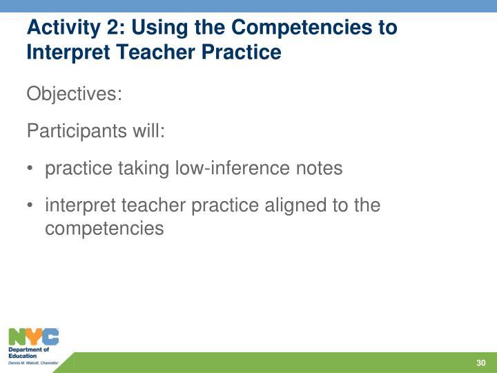 Activity 2: Using the Competencies to Interpret Teacher Practice