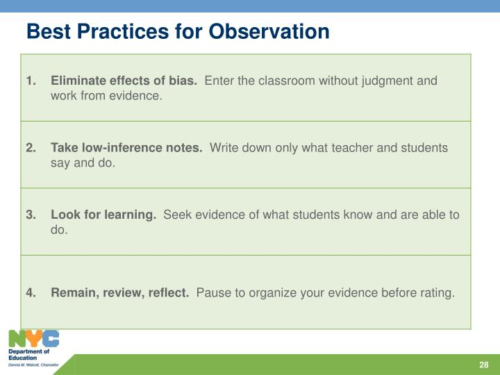 Best Practices for Observation