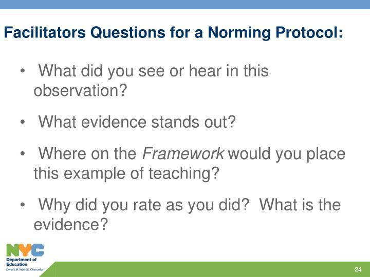 Facilitators Questions for a Norming Protocol
