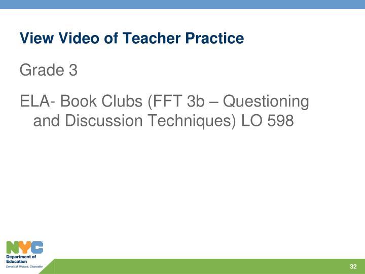 View Video of Teacher Practice