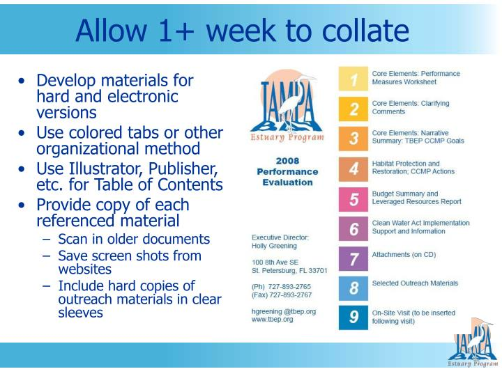 Allow 1+ week to collate