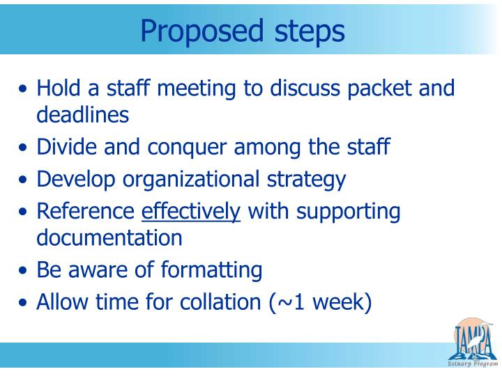 Proposed steps