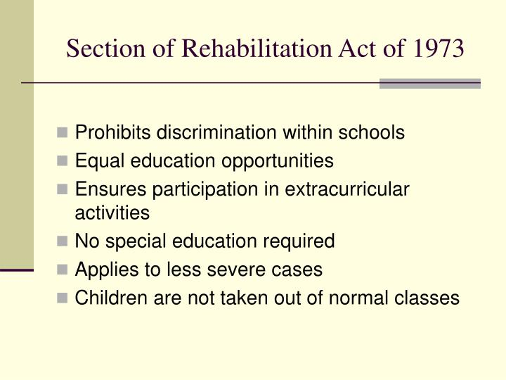 Section of Rehabilitation Act of 1973