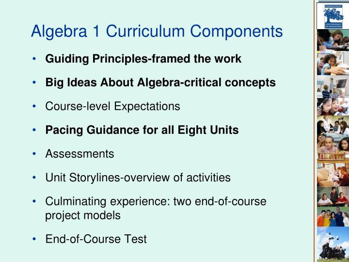 Algebra 1 Curriculum Components