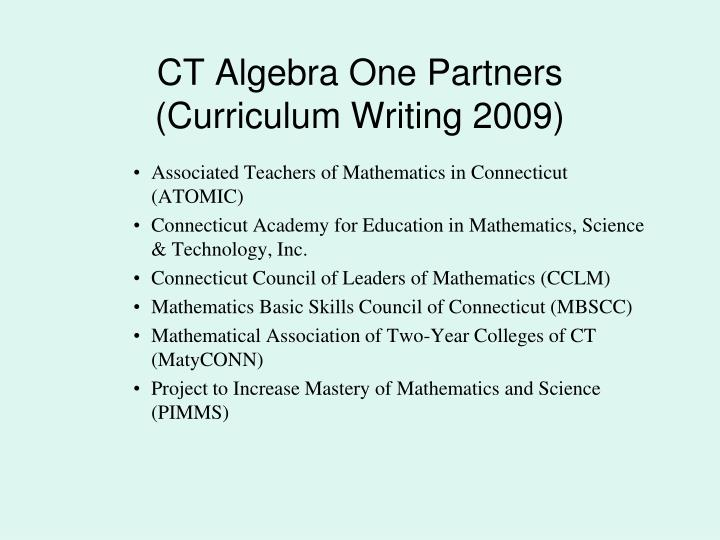 CT Algebra One Partners
