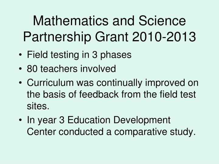 Mathematics and Science Partnership Grant 2010-2013