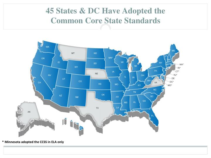 45 states dc have adopted the common core state standards