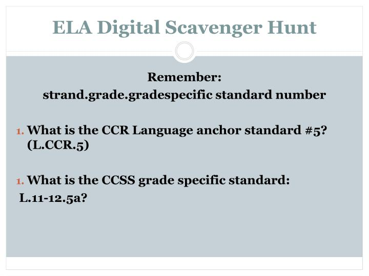 ELA Digital Scavenger Hunt