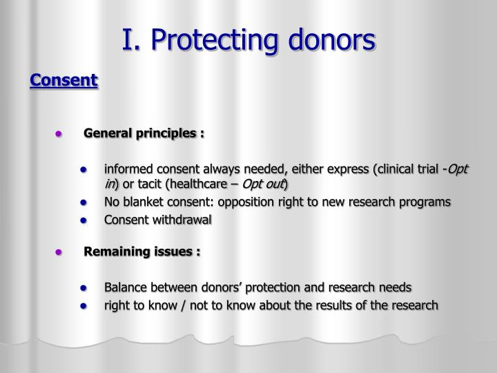 I. Protecting donors