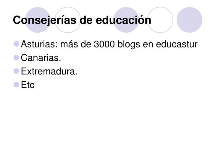 Consejerías de educación