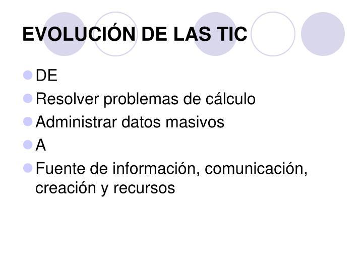 EVOLUCIÓN DE LAS TIC