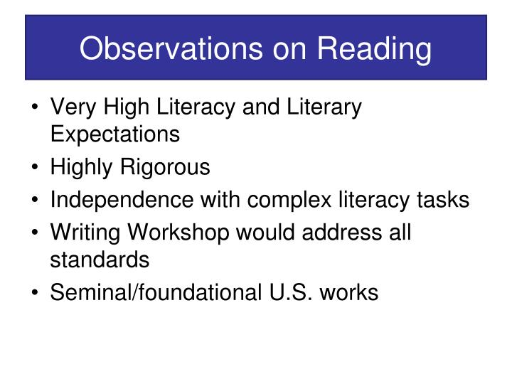 Observations on Reading