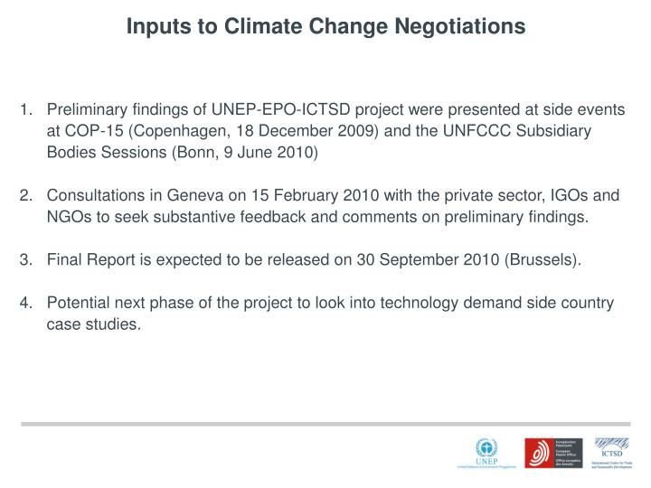 Inputs to Climate Change Negotiations