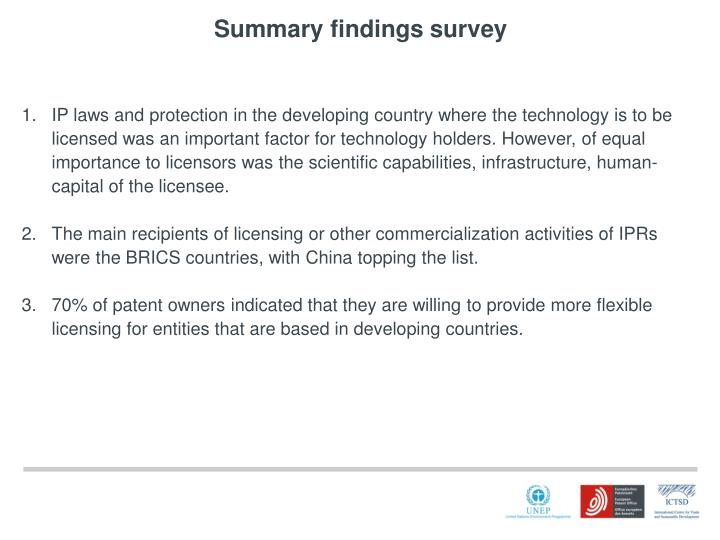 Summary findings survey