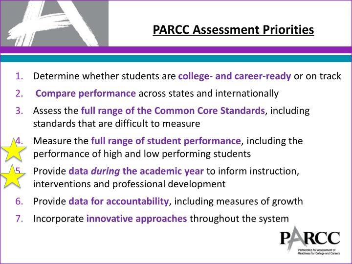 PARCC Assessment Priorities