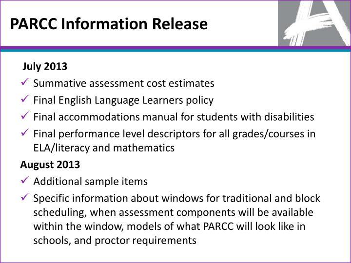 PARCC Information Release