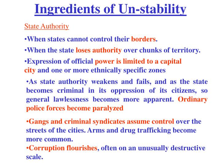Ingredients of Un-stability