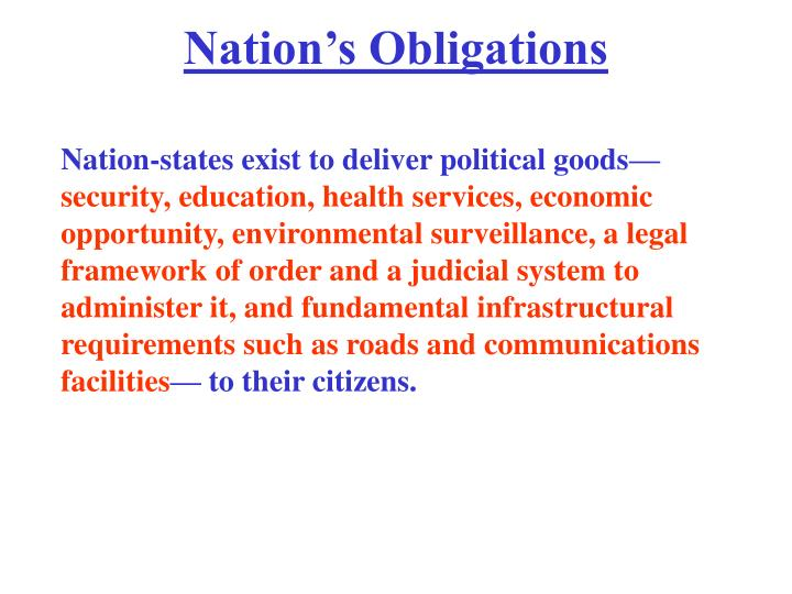 Nation's Obligations