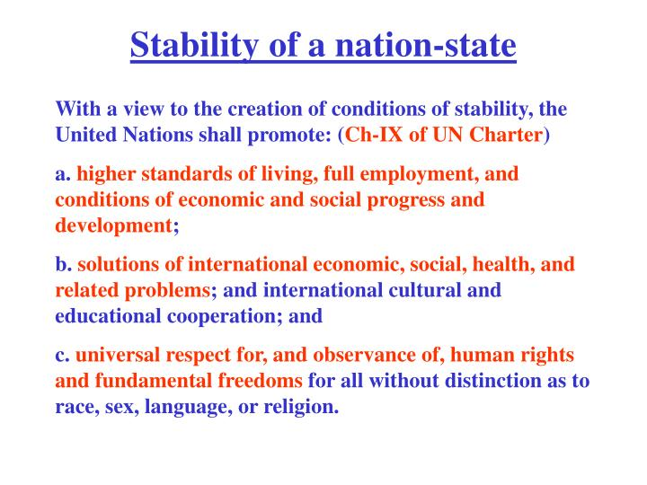 Stability of a nation-state