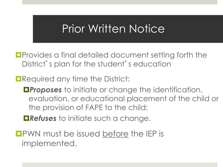 Prior Written Notice